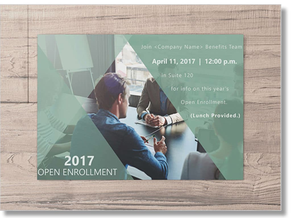 open enrollment postcard