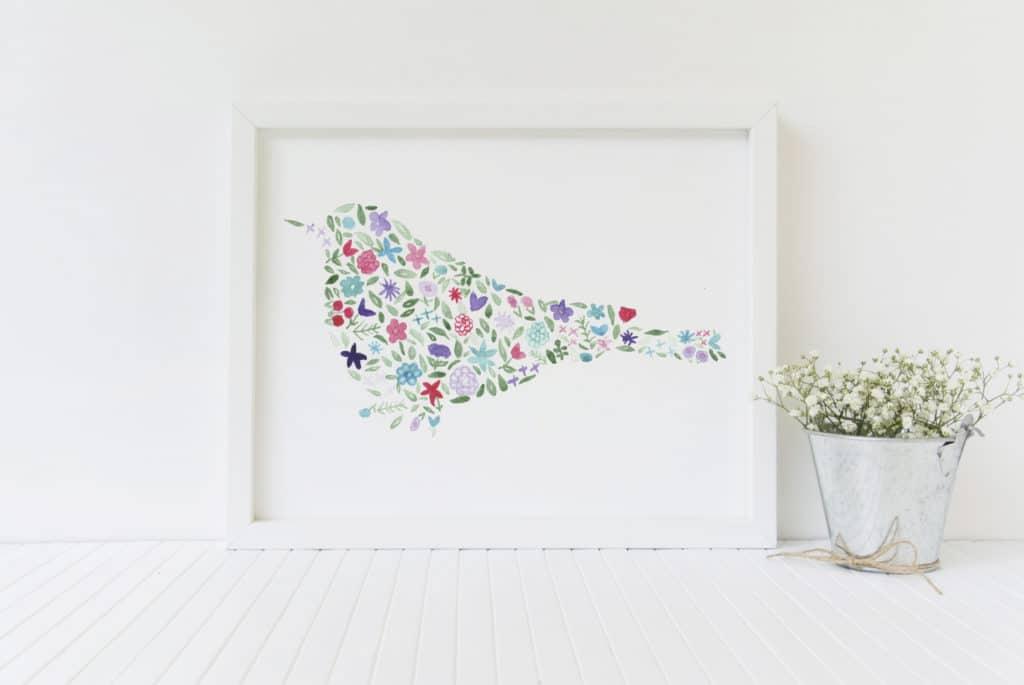 bird floral watercolor