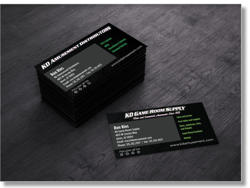 KD Game Room Supply Business Cards
